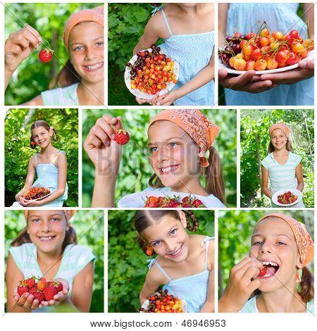 Girl eating cherries and strawberries