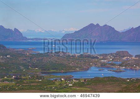 Picturesque norwegian panorama on Lofoten islands near town of Svolvaer poster