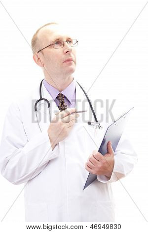 Male Medical Physician Comparing Some Information