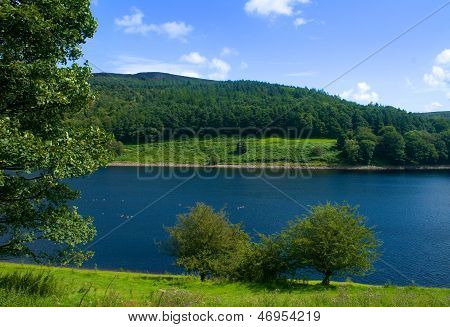 Looking over Ladybower Reservoir in the Derbyshire hills poster