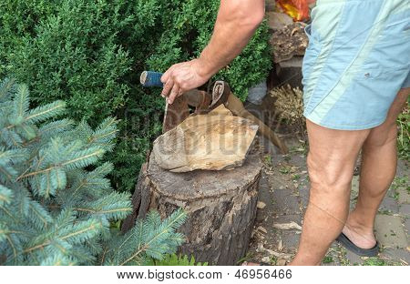 A Wooden Block With The Axes That Were Stuck In It And Hand Of The Hewer. Renewable Resource Of Ener