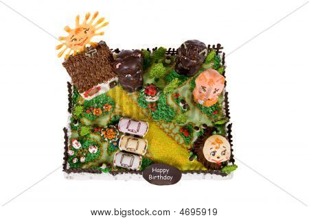 Big Birthday Cake With Animals In Courtyard