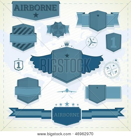 Set of airborne vintage labels and badges in blue colour.