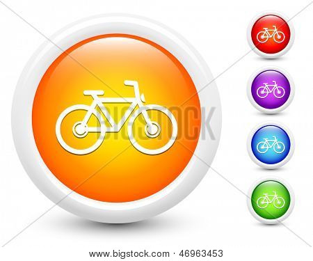 Bicycle Icons on Round Button Collection Original Illustration