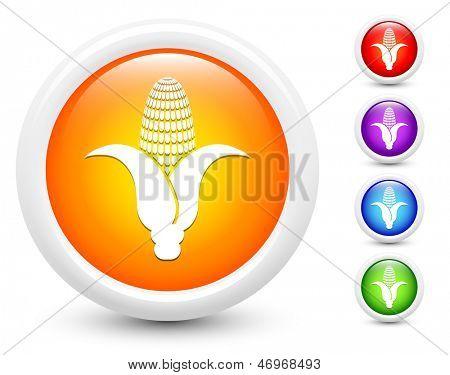 Corn Icons on Round Button Collection Original Illustration