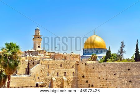 View of the golden Dome of the Rock and the Western Wall. Jerusalem Israel. poster