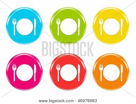 Colorful icons with dish to eat
