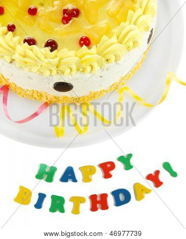 Happy birthday cake, isolated on white