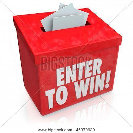 Geben Sie auf Win Wörter auf ein rotes Feld mit einem Steckplatz für die Eingabe Ihres Tickets oder Anmeldeformular in einem Lott zu gewinnen