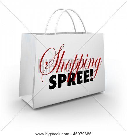 As Shopping Spree de palavras num saco branco para o transporte de sua mercadoria em uma loja ou shopping como você spen