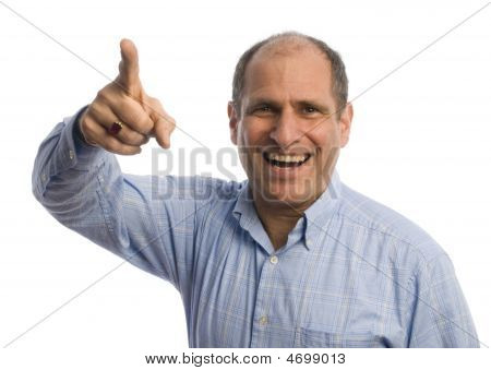 Man With Finger Pointing At Viewer Positive
