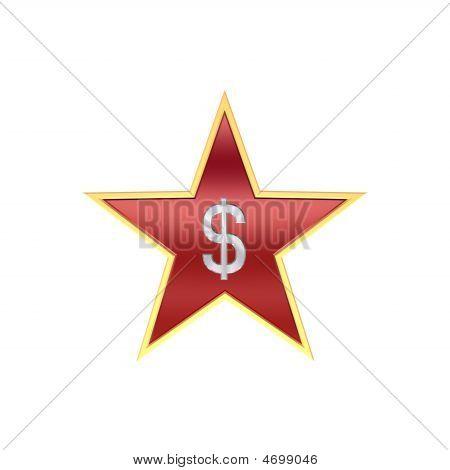 Chrom-Dollar-Zeichen in der Star, isoliert auf weiss.