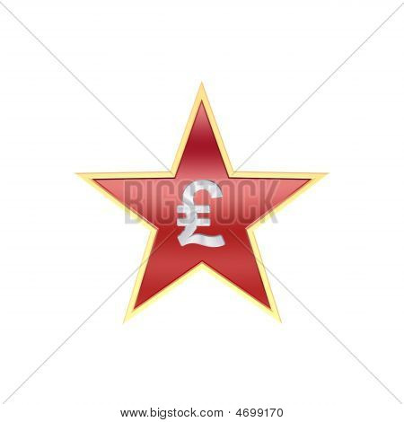 Chrome Pound Sign In The Star Isolated On White.