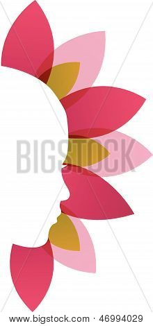 Lady's face with pink and red leaves-beauty icon concept