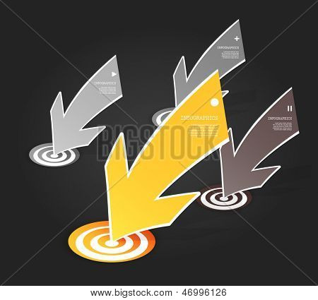 Four colored yellow and grey paper arrows on dark background with place for your own text.