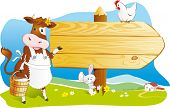 Cute cartoon cow with milk, rabbit and hen pointing wooden signboard. Space for text, countryside farm landscape. Vector illustration poster
