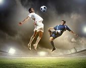 Image of two football players at stadium poster