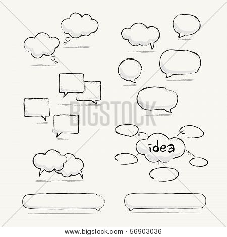 Sketched speech bubble set