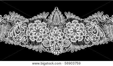 Seamless Stripe - Floral Lace Ornament - White On Black Background