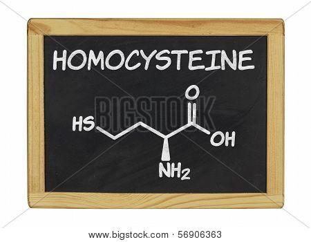 chemical formula of homocystein on a blackboard