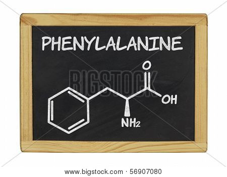 chemical formula of phenylalanine on a blackboard