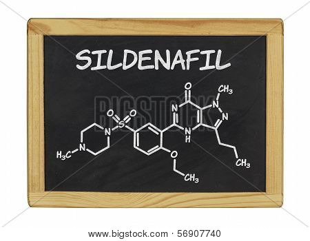 chemical formula of sildenafill on a blackboard