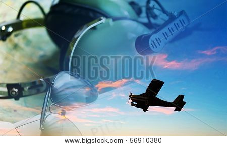 airplane flying at sunset with glasses and headset in the background poster