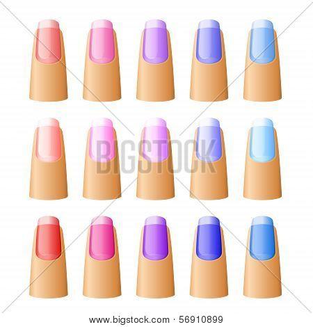 Nail polish in different hues.