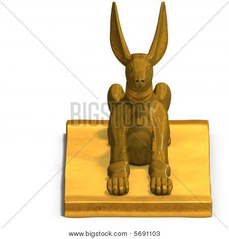 rendering of eygptian jackal god statue with Clipping Path and shadow over white poster