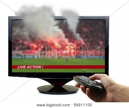 Tv screen with football match and smoke isolated