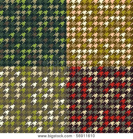 Set of houndstooth camouflage  patterns.