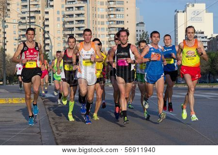 VALENCIA, SPAIN - JANUARY 12: Runners compete in the 10K Divina Pastora Valencia on January 12, 2014 in Valencia, Spain.