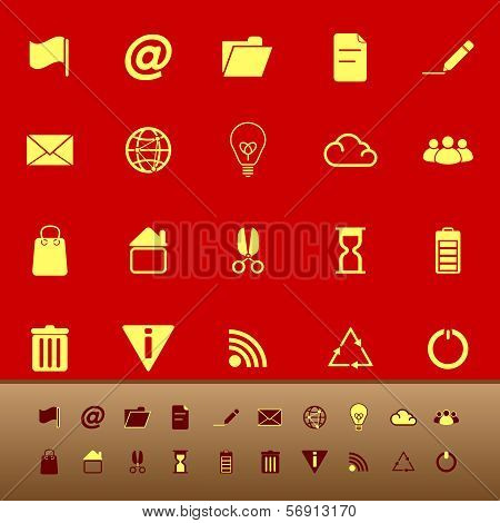 Web And Internet Color Icons On Red Background