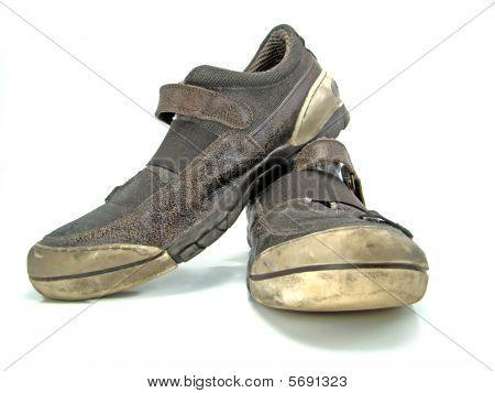 Used Grunge Leather Shoes Isolated On White