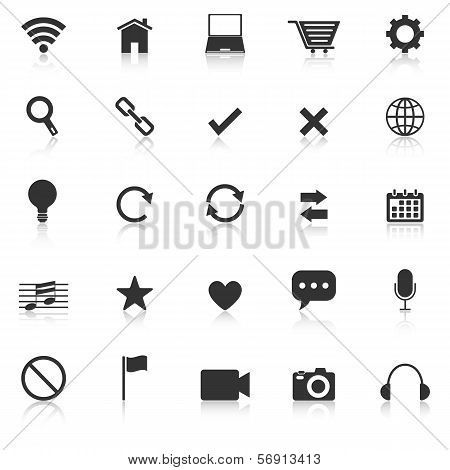 Web Icons With Reflect On White Background