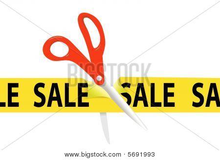 Scissors Cut Sale Ribbon Tape For Grand Opening