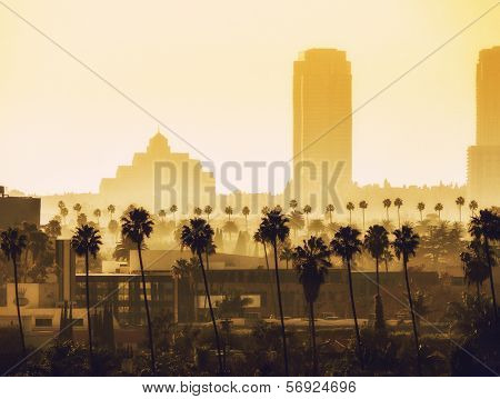 Los Angeles, California. View over Beverly Hills and Century City.