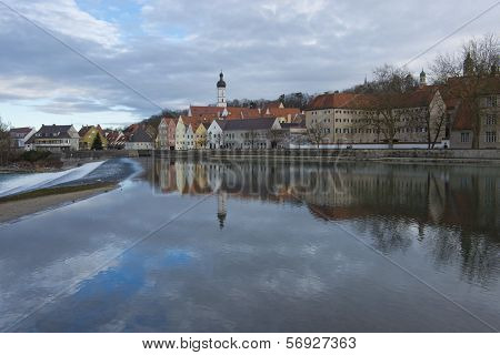 View over the medieval town of Landsberg am Lech in Bavaria situated on the Romantische Strasse. poster