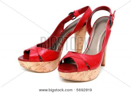 Pair Red Footwear Isolated On A Background