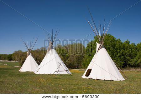 Three Indian Teepees