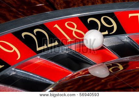 Classic Casino Roulette Wheel With Red Sector Eighteen 18