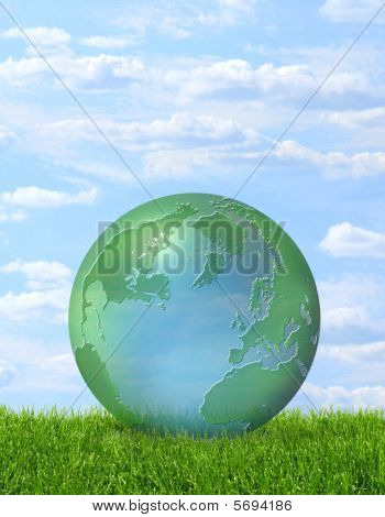 Green planet on grass
