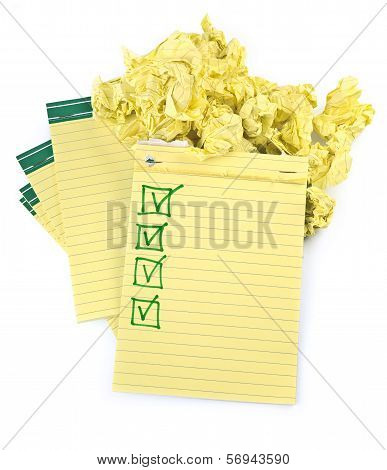 Lined Paper Notebooks With Completed Checklist