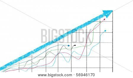 Background image with increasing graph. Marketing strategy poster