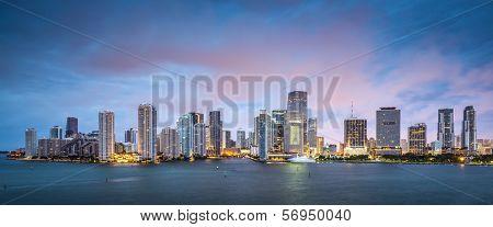 Skyline of Miami, Florida, USA at Brickell Key and Miami River. poster