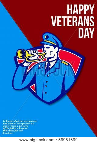 Modern Veterans Day Soldier Bugle Greeting Card