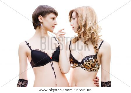 Two Girls Looking At Each Other