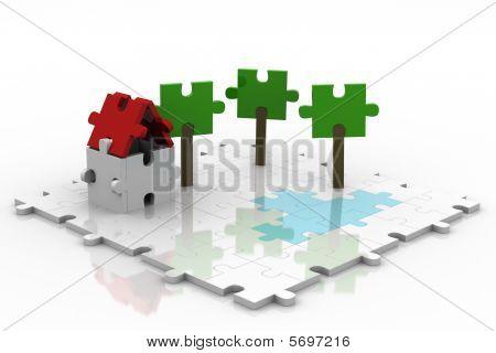 3D Puzzle Backyard White