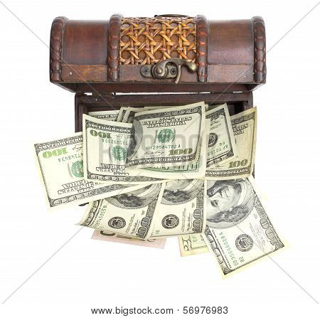 Hundred-dollar bills at chest box on a white background.
