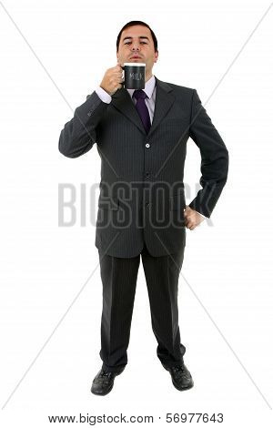 Youyoung Business Man With A Cup Of Milk, Isolated On White
